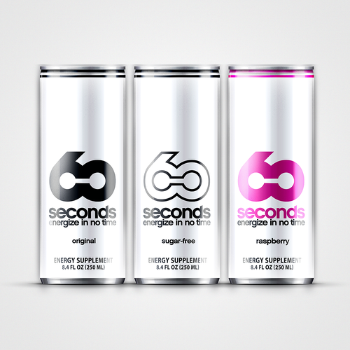 "Energy drink design with the title 'Product label for ""60 seconds"" ENERGY DRINK. Guaranteed to award the prize!'"