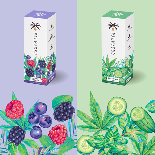 Colorful packaging with the title 'CBD packaging design'