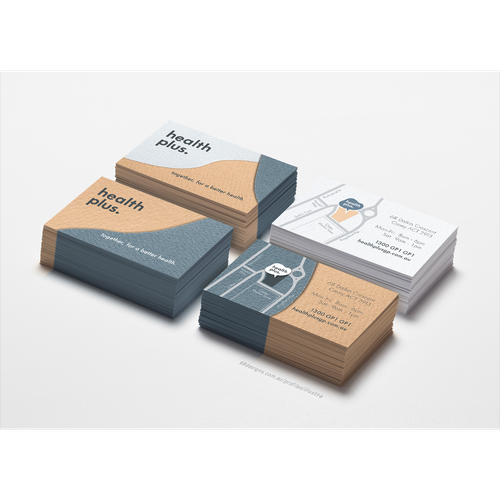 Textured design with the title 'Business Card Designs for HealthPlus GP Clinic'
