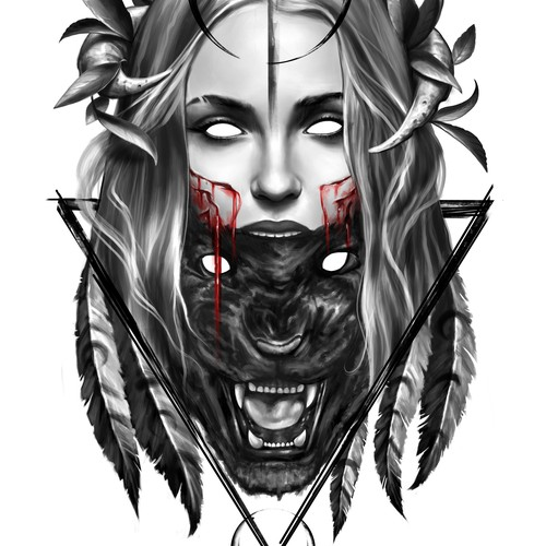 Panther design with the title 'pantera-mujer'