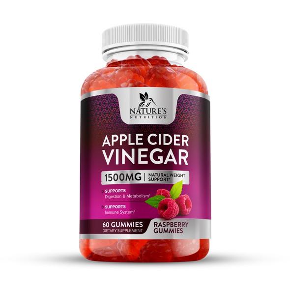 Apple cider label with the title 'Apple Cider Vinegar Raspberry Gummies Label Design'