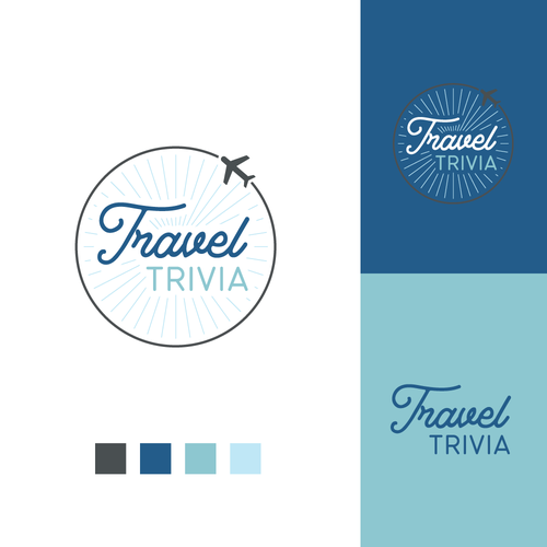 Quiz design with the title 'Fun logo for travel-themed quiz game'