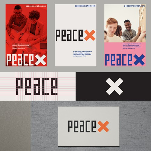 "Neutral logo with the title '""peaceX"" logotype'"