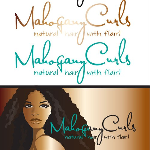 Natural brand with the title 'logo illustration for MAHOGANY CURLS'