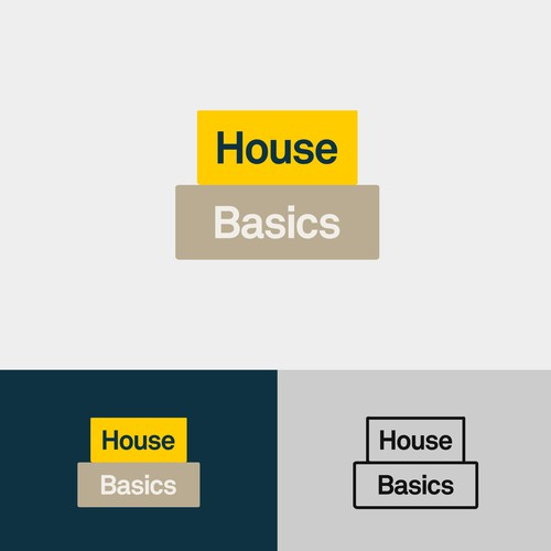 """Brown and yellow logo with the title '""""Home Basics"""" logotype'"""