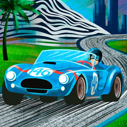 Car illustration with the title 'VINTAGE LA RACE CAR POSTER'
