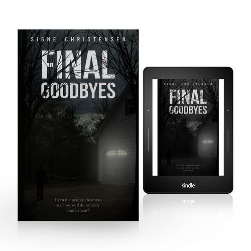 Psychological thriller book cover with the title 'Cover for psychological thriller e-book - Final Goodbyes'