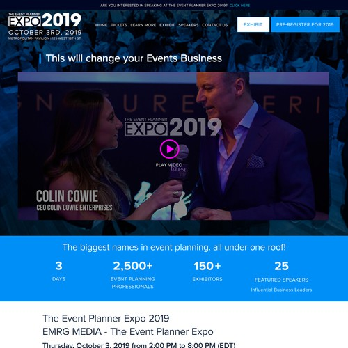 Event website with the title 'Event Website Redesign'