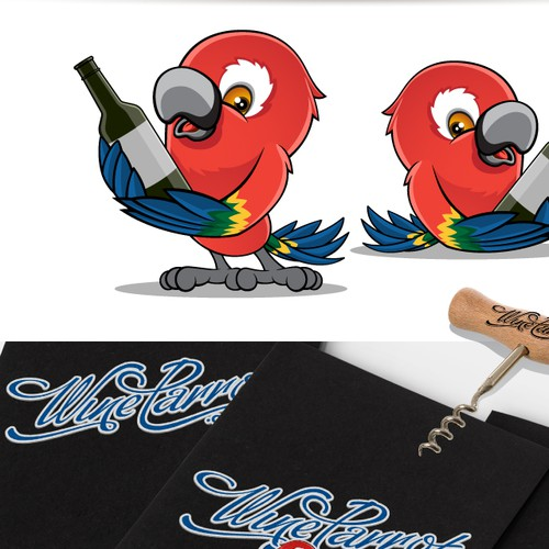 Parrot logo with the title 'Cartoony logo featuring a parrot drinking wine!'