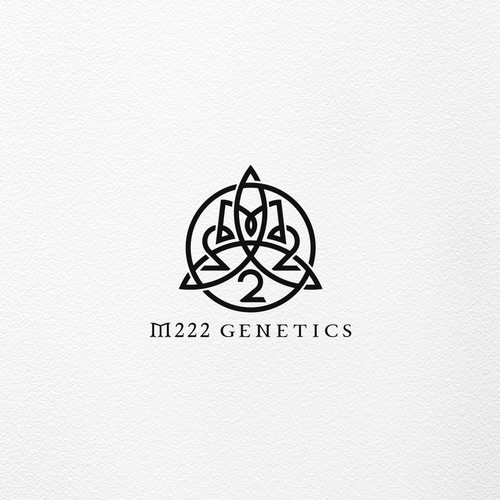 Celtic design with the title 'M222 GENETICS '