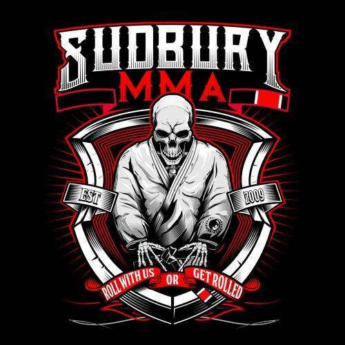 Mixed martial arts design with the title 'Skull Brazilian Jiu-jitsu  martial arts athlete Illustration Designs For SUDBURY MMA T_SHIRT'