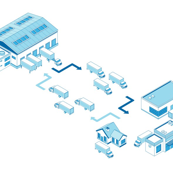 Truck illustration with the title 'Isometric illustration'