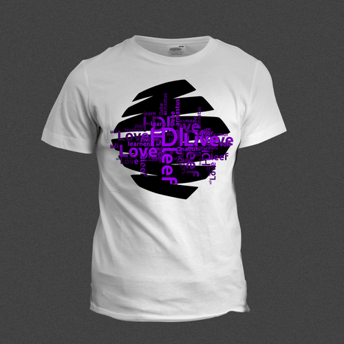 Purple t-shirt with the title 'HDI T-Shirt Design by Skn DESIGN'