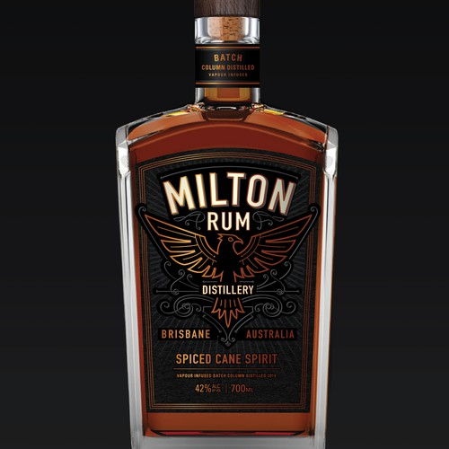 Craft label with the title 'Milton Rum Distillery'