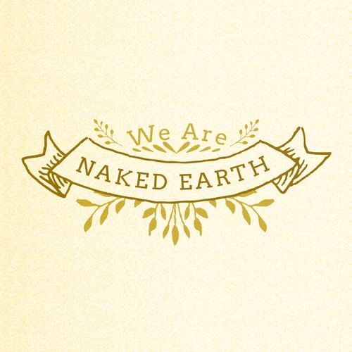Sketch design with the title 'Raw, natural skincare brand WE ARE NAKED EARTH needs simple striking logo'