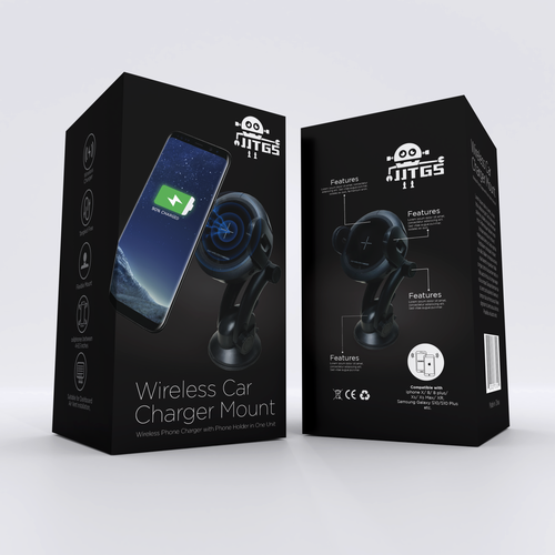 Blender 3D design with the title 'Wireless Car Charger'