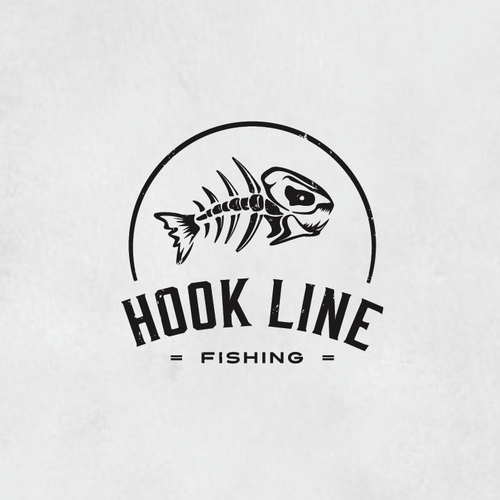 Skeleton design with the title 'Guaranteed Winner*** Hook Line Fishing Logo'