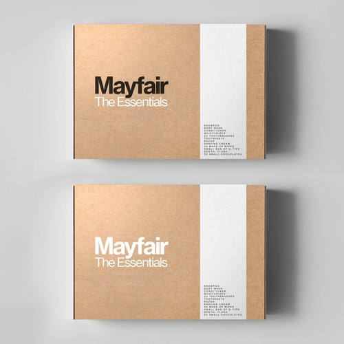 Cardboard design with the title 'Package design for amenities package'