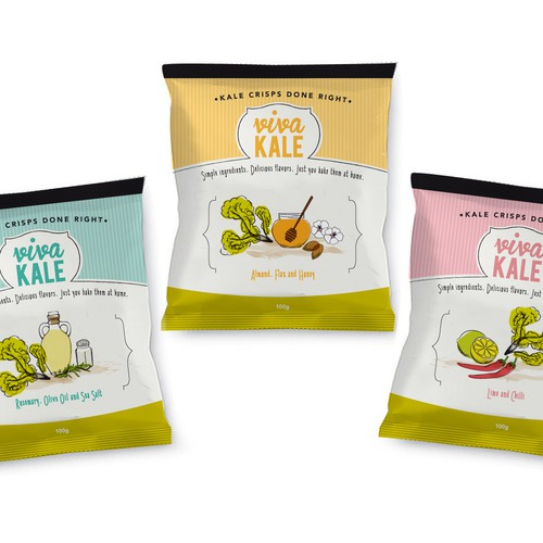 Crisp design with the title 'Design Crisp Packets for Viva Kale..A chic, urban, trendy, fun new brand'