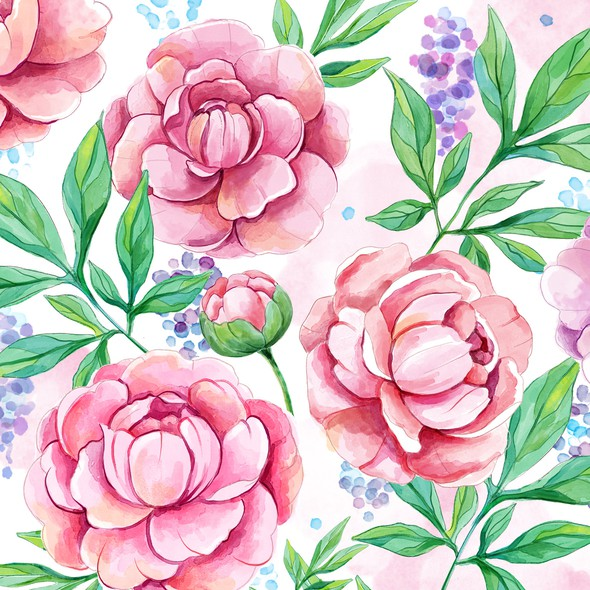 Aquarelle illustration with the title 'Watercolor floral design'