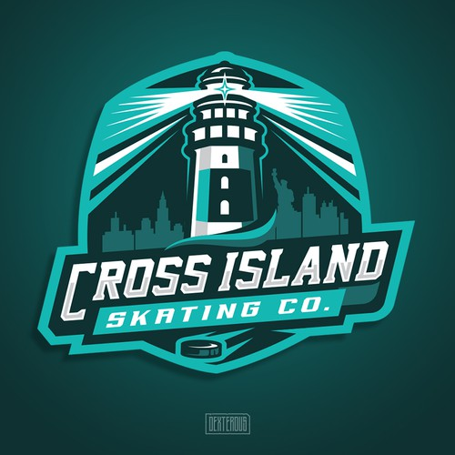 Tropical island logo with the title 'Logo for Cross Island Skating Co.'
