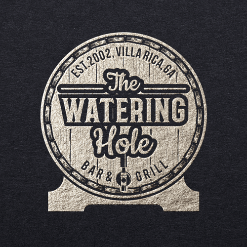 Grill design with the title 'the watering hole'