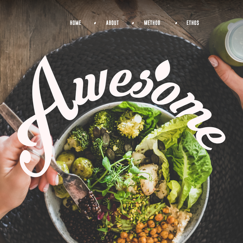 Nature website with the title 'Website design for the very good food company'