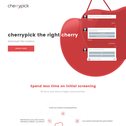 Bot design with the title 'cherrypick landing page'