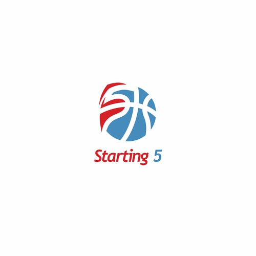 Five design with the title 'logo basket ball and number 5'