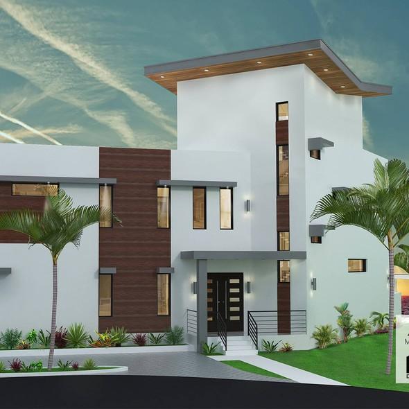 Architecture design with the title 'Villa render'
