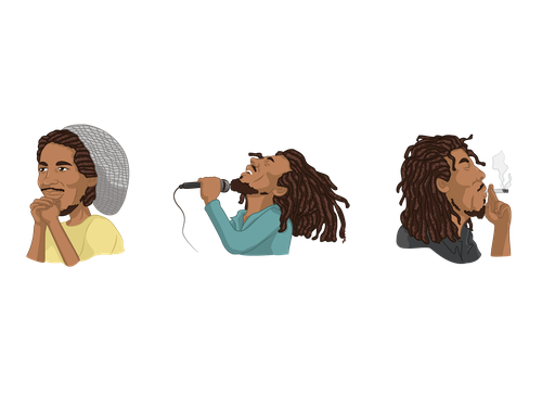 Cartoon artwork with the title ' Bob Marley Stickers Set'