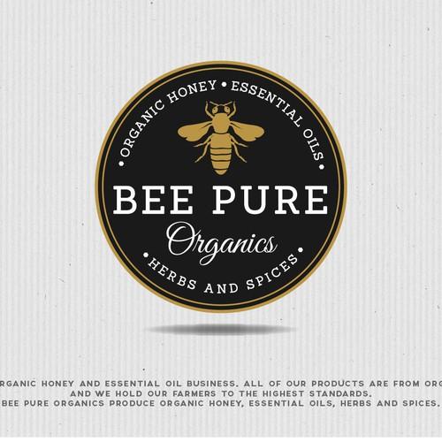 Honeycomb design with the title 'Elegant logo for premium organic honey...'