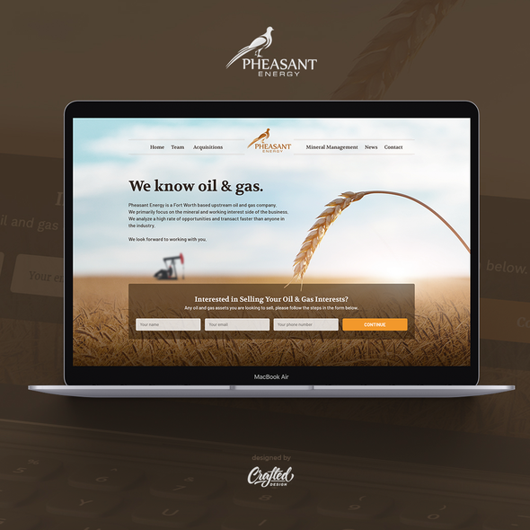 Energy website with the title 'Pheasant Energy'