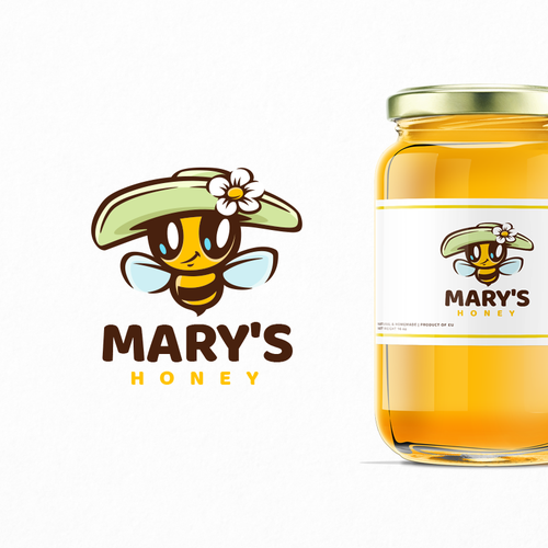 Farm logo with the title 'Mary's Honey'