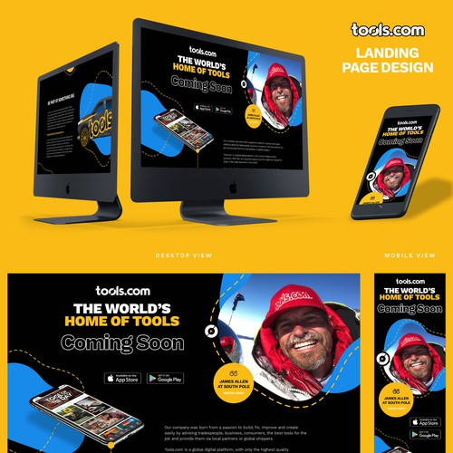 Coming soon design with the title 'Bold Coming Soon Landing Page Design For Tools Company'