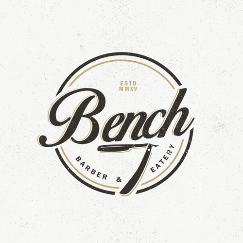 Razor design with the title 'Bench Barber & Eatery'