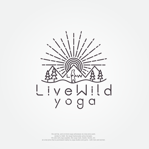 Gray logo with the title 'Live Wild Yoga logo'