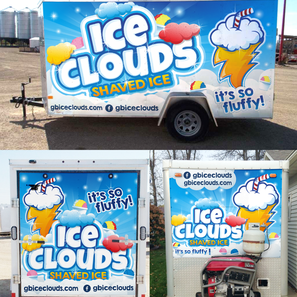 Trailer wrap design with the title 'ice clouds'