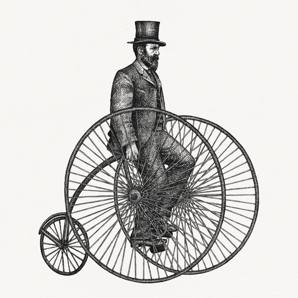 Rustic artwork with the title 'Illustration of a stately 19th century gentleman on a bicycle'