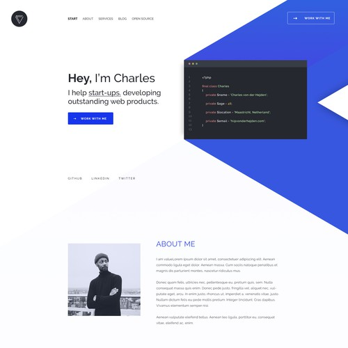 Blue website with the title 'Website for a Web-Developer'