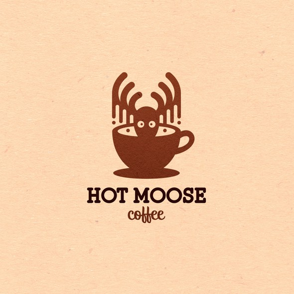 Moose logo with the title 'Playful logo for Hot Moose Coffee'