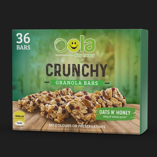 Granola packaging with the title 'OOLA CRUCHY GRANOLA BARS'