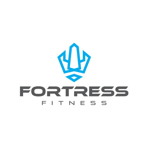 Fortress logo with the title 'Logo for a fitness brand'