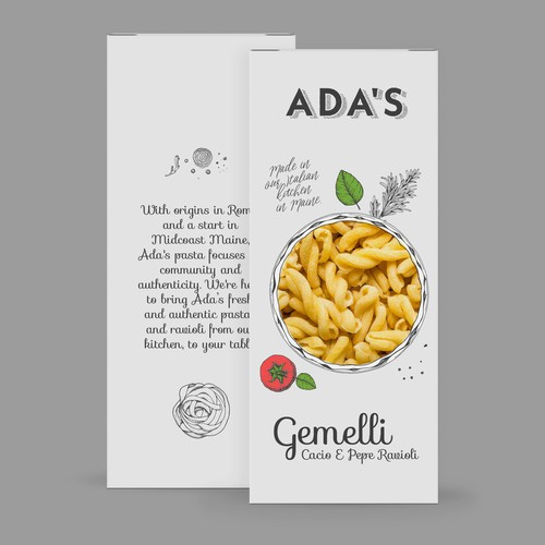 Pasta packaging with the title 'Ada's pasta'