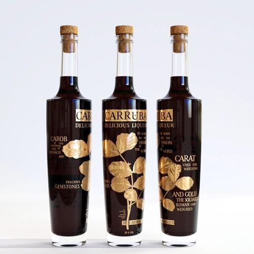 Liquor label with the title 'Premium liqueur label'