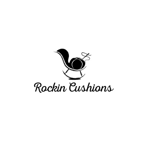 Needle logo with the title 'Logo for handmade Etsy shop making rocking chair cushions'