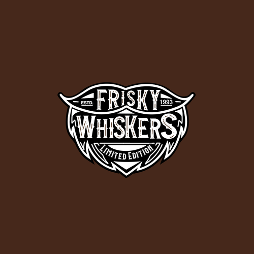 Masculine logo with the title 'Frisky Whiskers ltd'