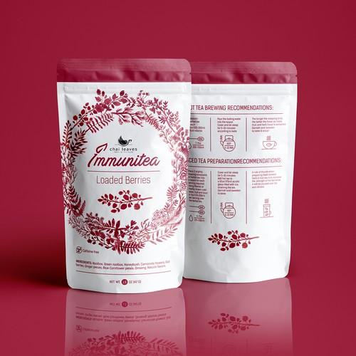 Brand label with the title 'Immunitea - Luse Leaf Tes'