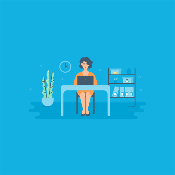 Vector artwork with the title 'Woman with laptop'