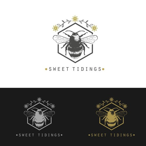 Honey bee logo with the title 'sweet tidings'